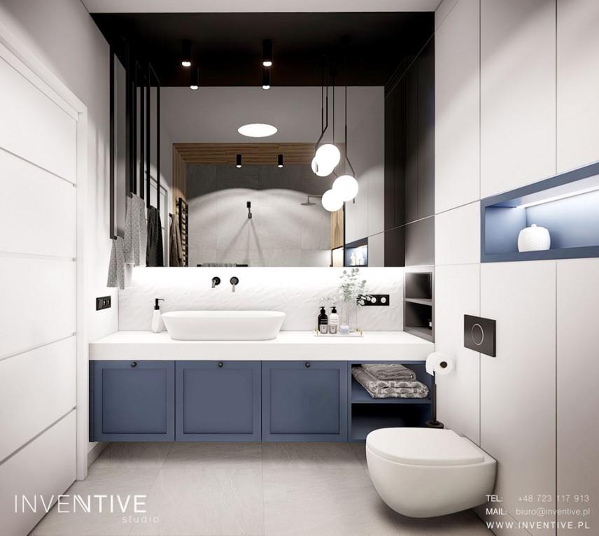 Łazienka na piętrze z muszlą wiszącą