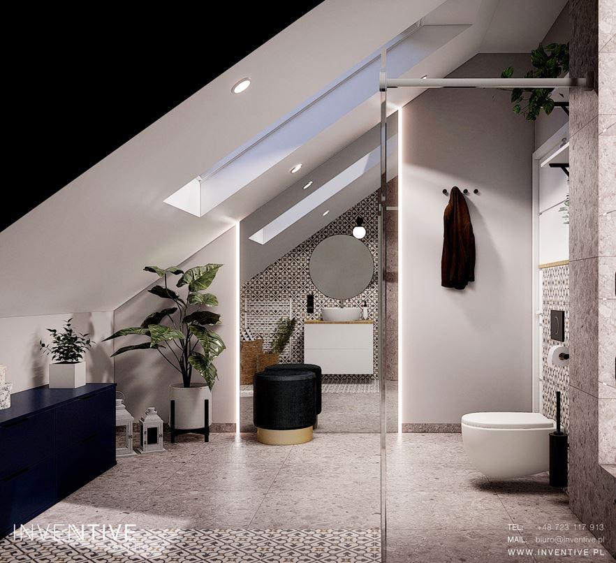Łazienka na poddaszu z szarymi płytkami na podłodze