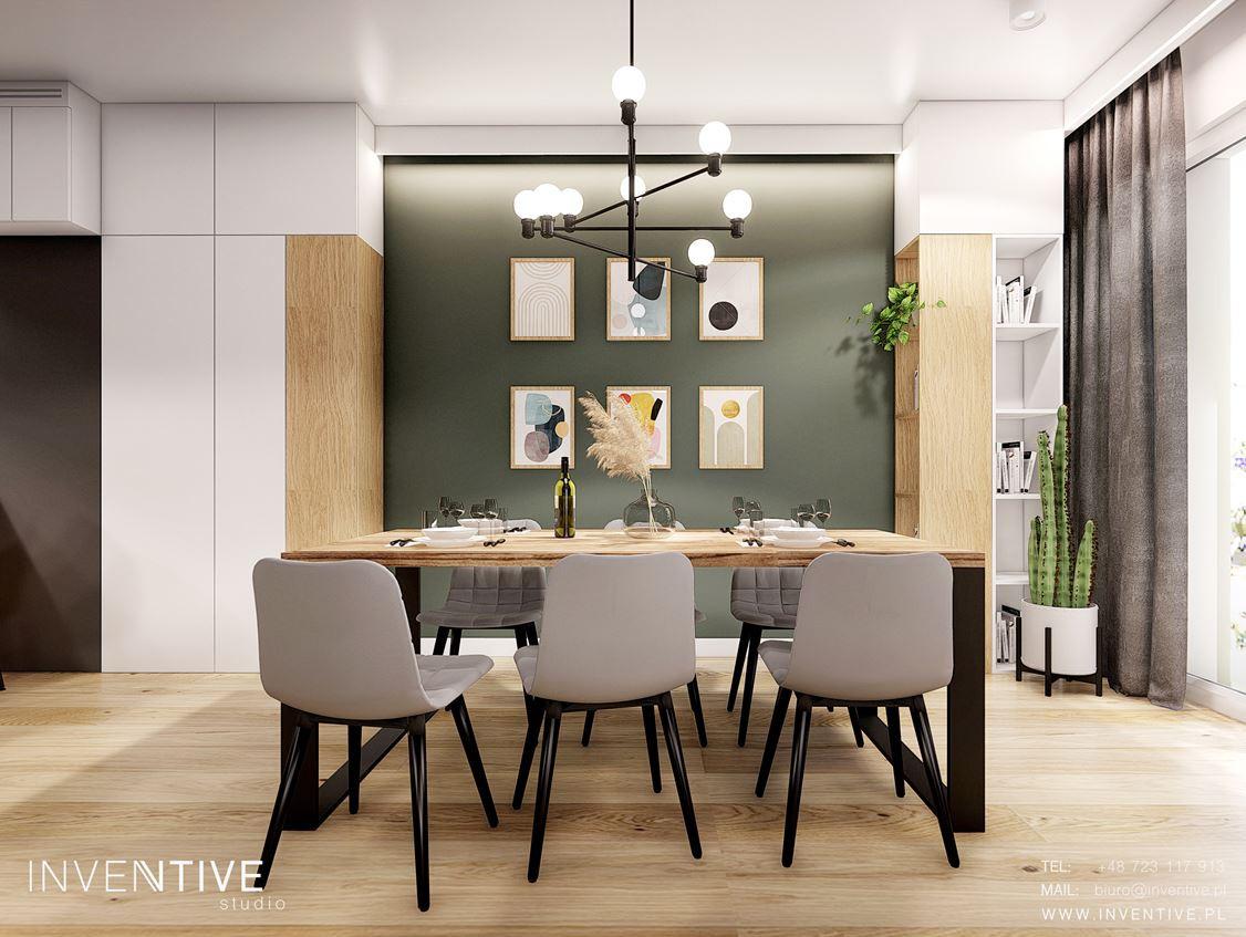 Jadalnia ze stołem w stylu loft oraz z tapicerowanymi krzesłami