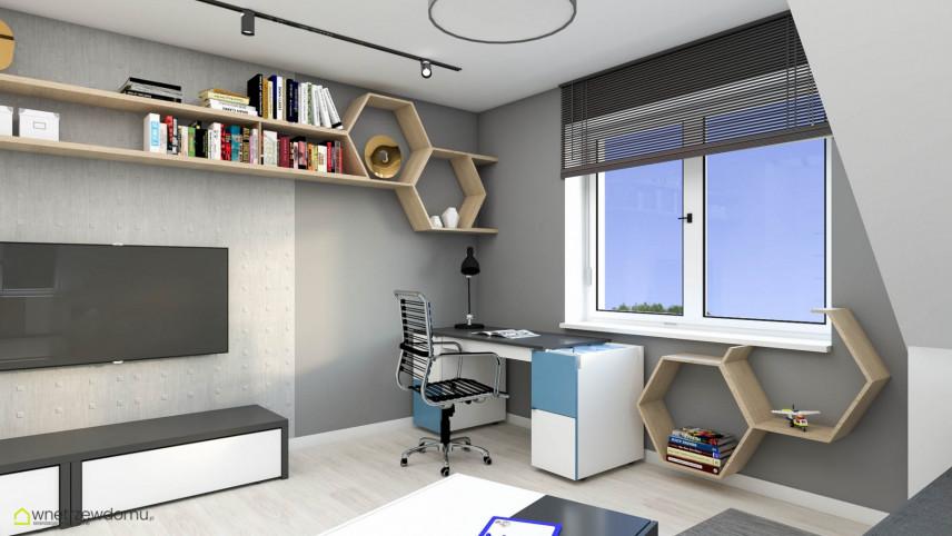 Pokój młodzieżowy z biurkiem przy oknie