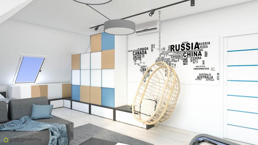 Pokój młodzieżowy z naklejoną mapą świata na ścianę