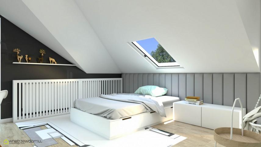 Pokój na poddaszu z tapicerowaną ścianą