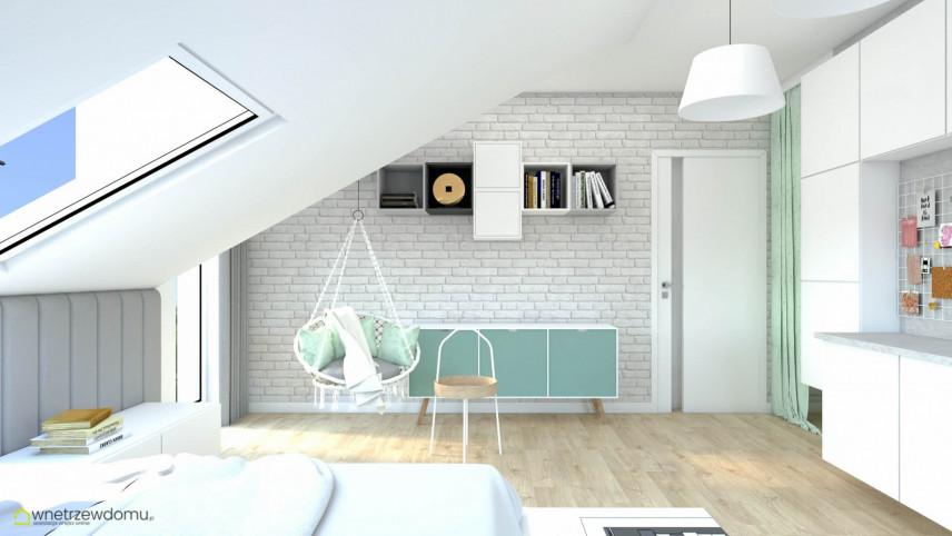 Pokój nastolatka z cegłą na ścianie i huśtawką zamontowaną do sufitu