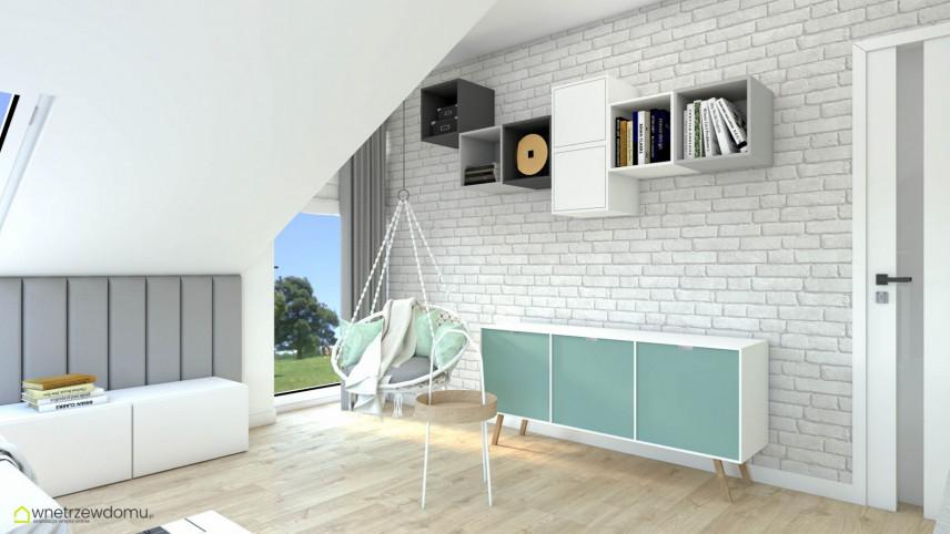Aranżacja pokoju nastolatki z cegłą na ścianie