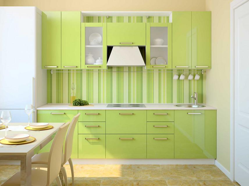 Zielona kuchnia z jadalnią