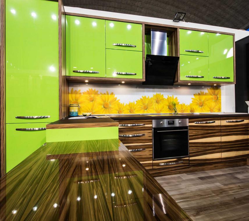 Projekt kuchni w zielono-brązowym kolorze