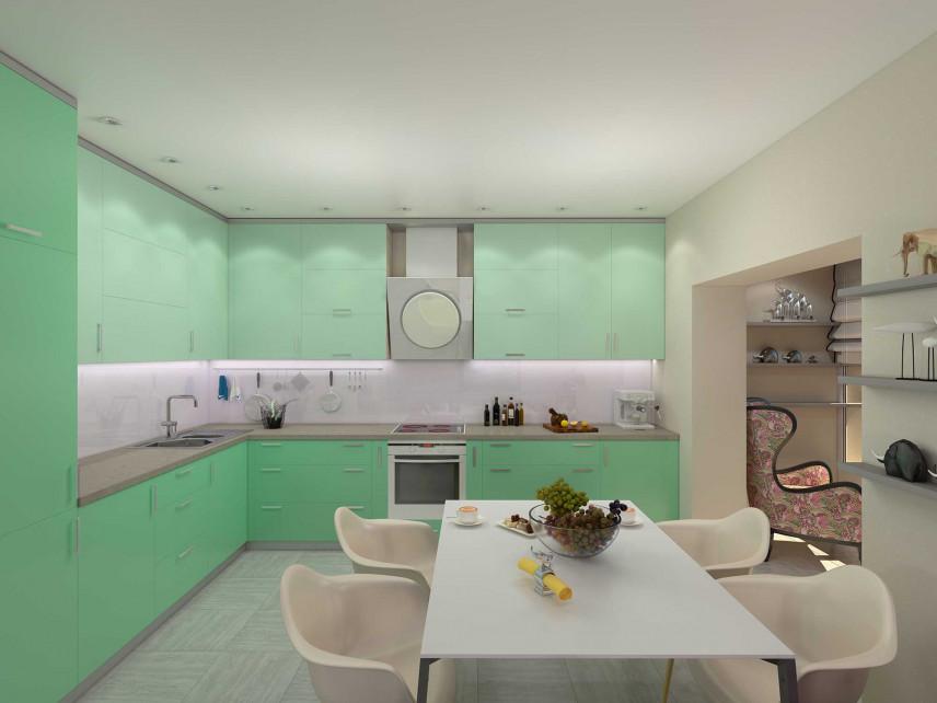 Projekt zielonej kuchni z jadalnią