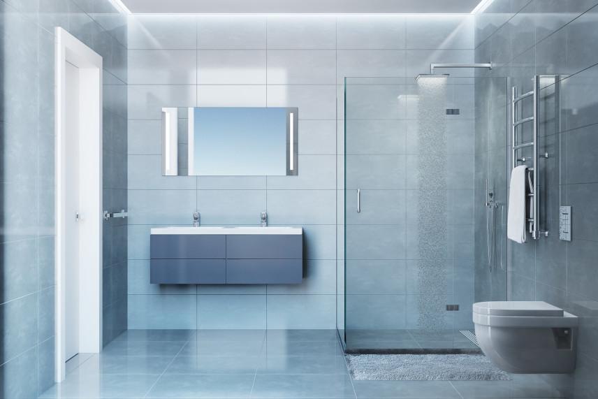 Szara, nowoczesna łazienka