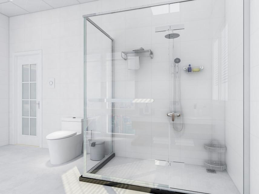 Białą łazienka z dużą kabiną prysznicową