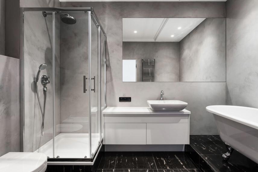 Szara betonowa łazienka
