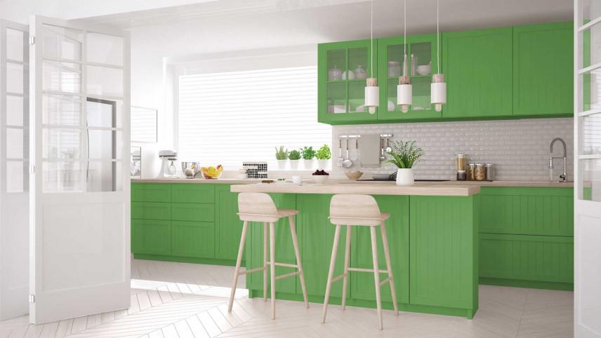 Kuchnia z zielonymi frontami